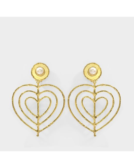 Sylvia Toledano - Metallic Valentine Earrings In 18k Gold Plated Brass And Pearl - Lyst