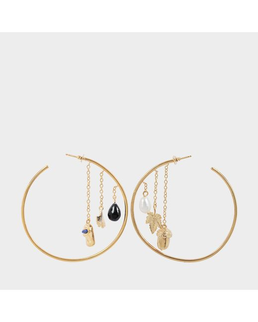 Aurelie Bidermann - Metallic Barbizon Hoop Earrings With Baroque Pearls And Black Agate - Lyst