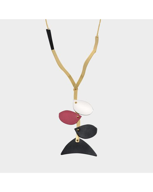Marni - Necklace With Petal Leather Pieces In Black Calfskin - Lyst