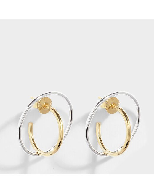 Charlotte Chesnais - Metallic Saturn Small Earrings In Silver And Yellow Silver-gilt - Lyst