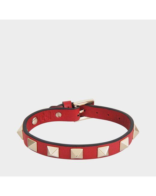 Valentino - Red Rockstud Small Bracelet - Lyst