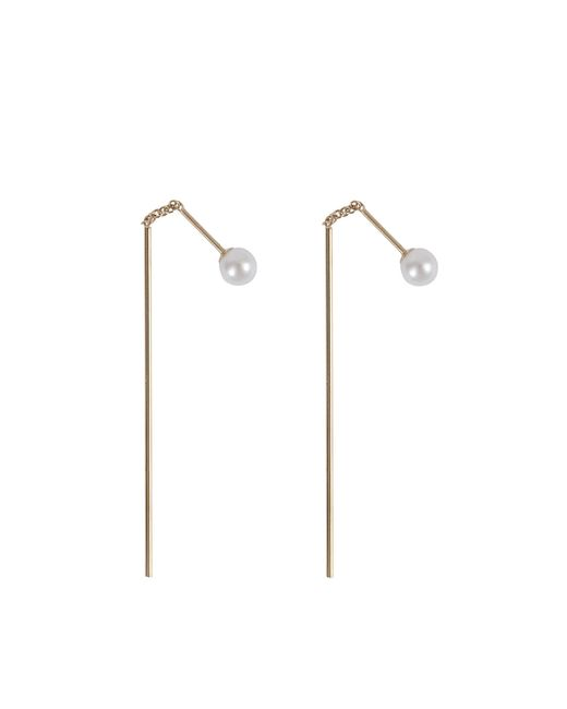 Mizuki | Multicolor Bar Thread Thru Pearl Earrings | Lyst