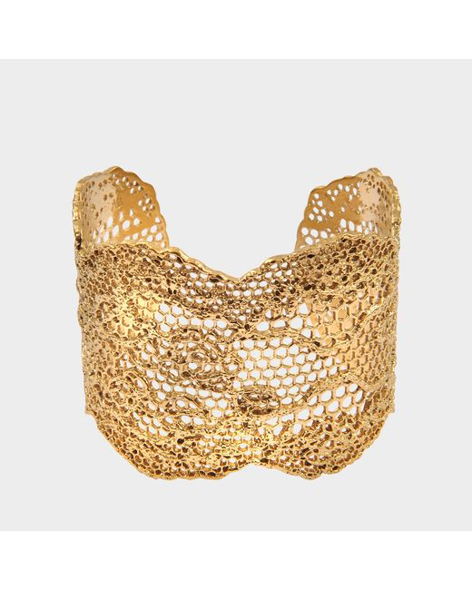 Aurelie Bidermann - Metallic Dentelle Cuff Bracelet In Gold Plated Brass - Lyst