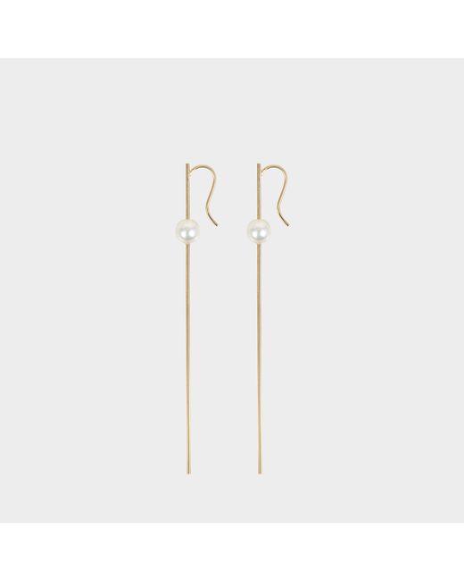 Mizuki - Metallic Straight Wire Pearl Earrings - Lyst