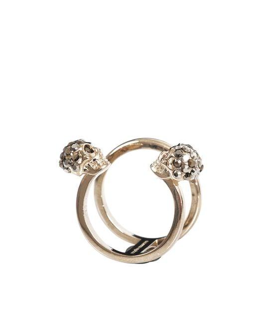 Alexander McQueen - Metallic Thin Twin Skull Ring - Lyst