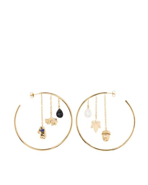 Aurelie Bidermann | Metallic Barbizon Hoop Earrings With Baroque Pearls And Black Agate | Lyst