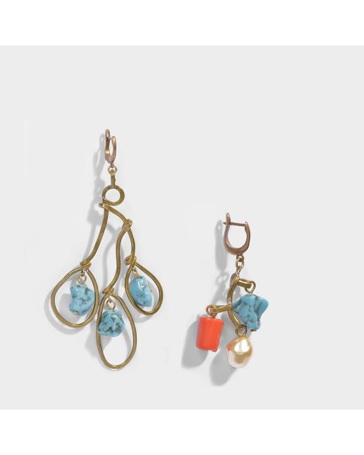 Marni - Multicolor Asymmetrical Earrings - Lyst