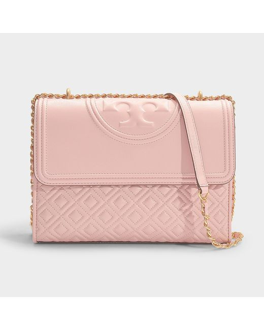 37da8a76e24f Tory Burch - Fleming Convertible Shoulder Bag In Shell Pink Calfskin - Lyst  ...