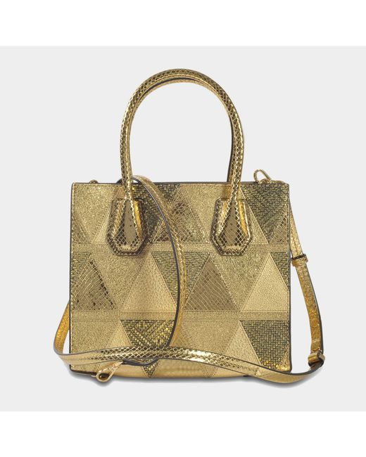 Michael Michael Kors Sac Mercer Patchwork Medium Messenger en Cuir Or UOgxeyn3K