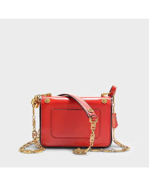 e819152952 ... Versace - Icon Shoulder Bag With Medusa Studs In Red Calfskin - Lyst ...