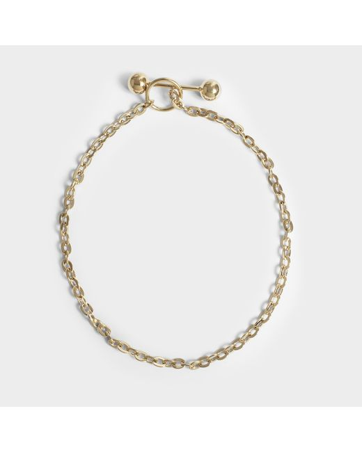 Saskia Diez - Metallic Barbelle Choker Necklace In 18k Gold-plated Silver - Lyst
