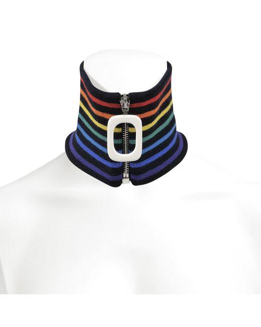 J.W. Anderson - Blue Zip-through Wool-blend Neck Band Scarf In Navy Merino Wool - Lyst