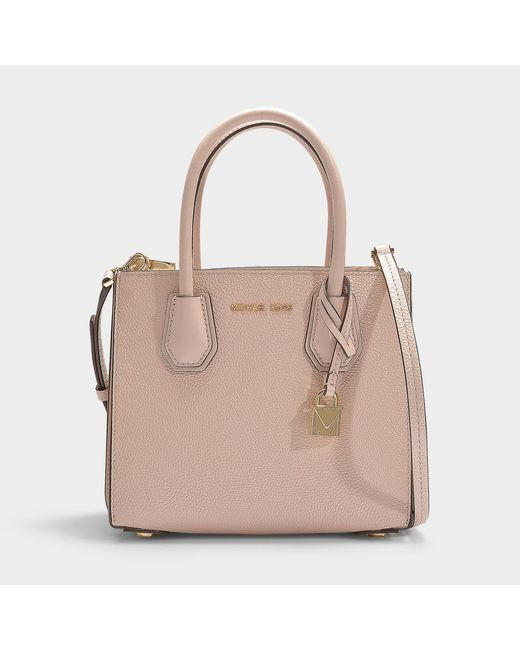 a284e41b708a9e MICHAEL Michael Kors - Mercer Medium Accordion Messenger Bag In Soft Pink  Grained Calfskin - Lyst ...