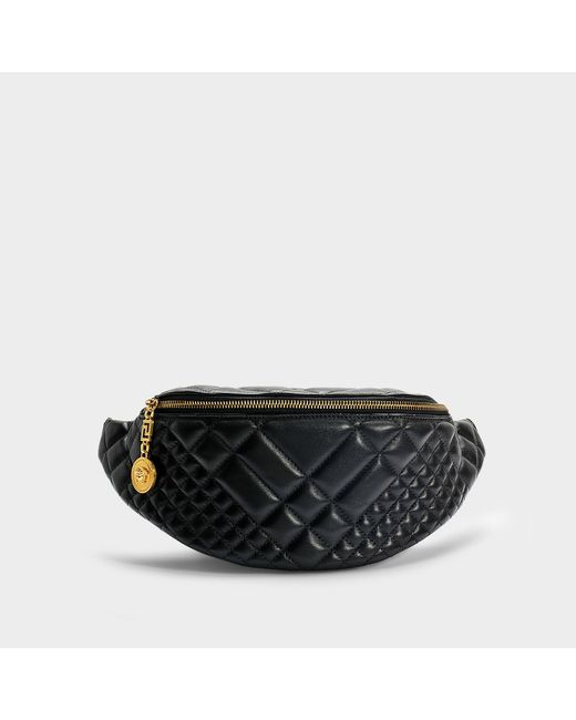 Versace - Belt Bag In Black Quilted Calfskin - Lyst