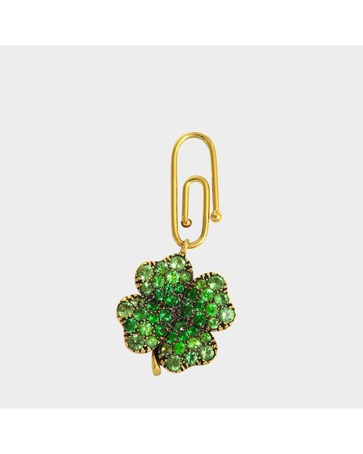 Aurelie Bidermann - Metallic Fine Jewellery - 18k Gold Clover Pendant With Tsavorites - Lyst