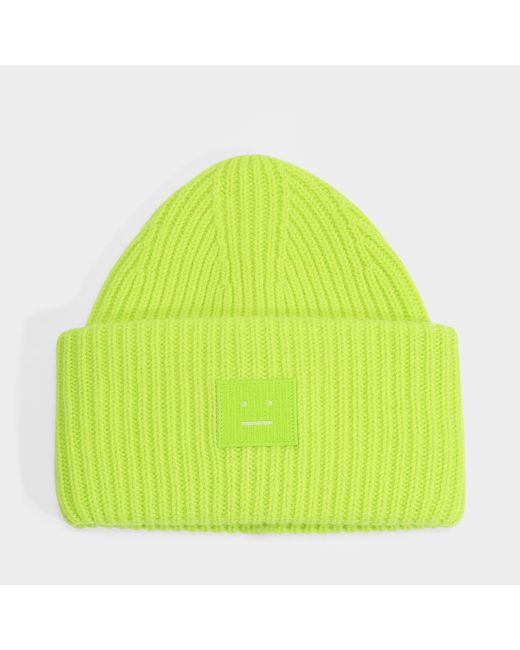 Acne Pansy N Face Beanie In Lime Green Wool