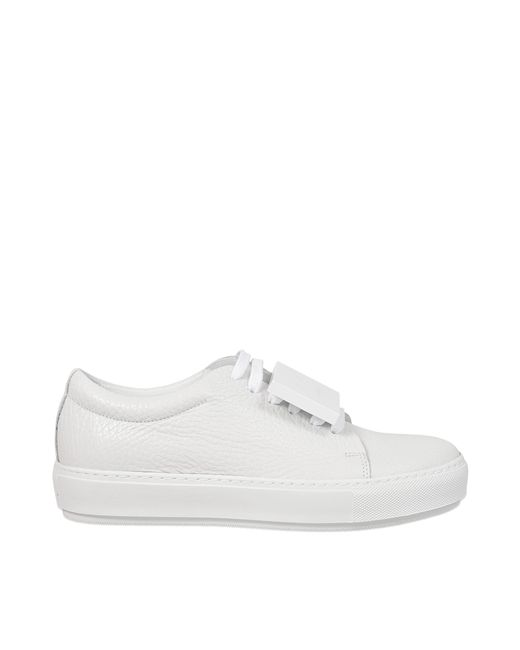 Acne | White Adriana Grained Leather Sneaker | Lyst
