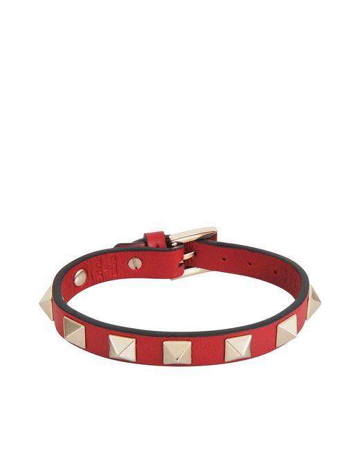 Valentino | Red Rockstud Bracelet | Lyst