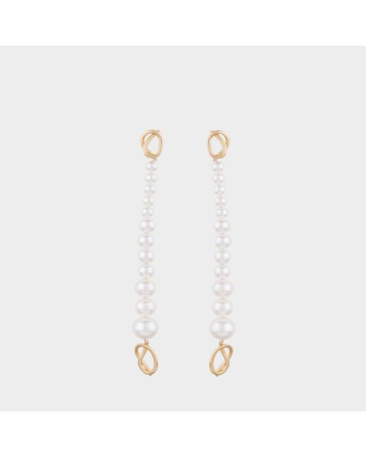 Joanna Laura Constantine - Metallic Gold Plated Pearl Knot Dangling Earrings - Lyst