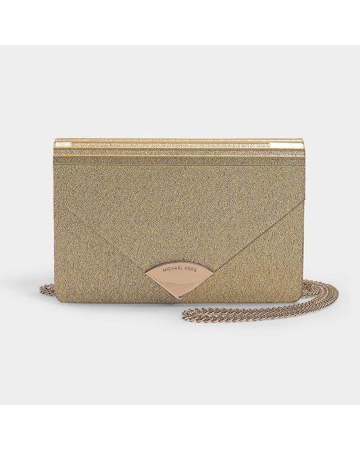 268574fd44f6 MICHAEL Michael Kors - Metallic Barbara Medium Envelope Clutch Bag In Pale  Gold Pvc - Lyst ...