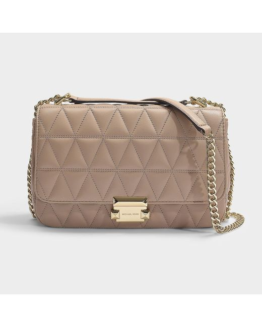 3f6067c0418 MICHAEL Michael Kors - Natural Sloan Large Chain Shoulder Bag In Truffle  Quilted Lambskin - Lyst ...