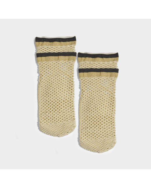 Maria La Rosa - Metallic Teenage Netted Socks In Gold Polyamide, Elastane And Polyester - Lyst