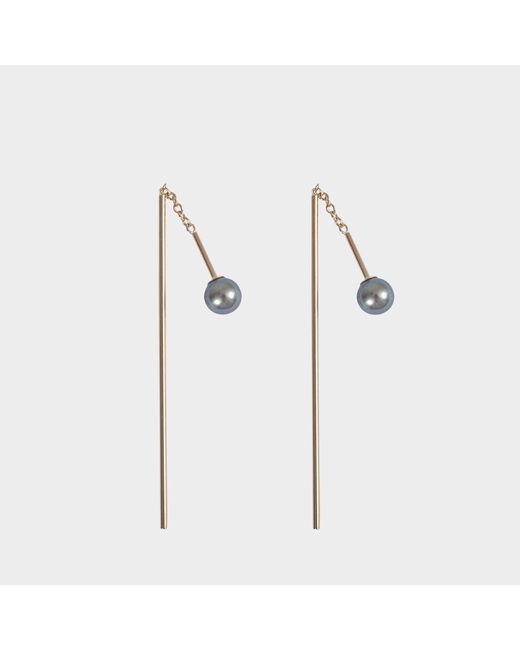 Mizuki - Multicolor Bar Thread Thru Pearl Earrings - Lyst