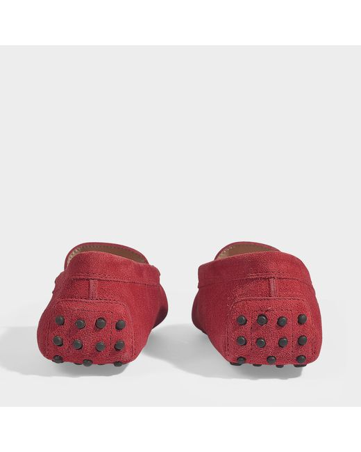 827a48ebce1 ... Tod s - Red Gommino Suede Loafers - Lyst