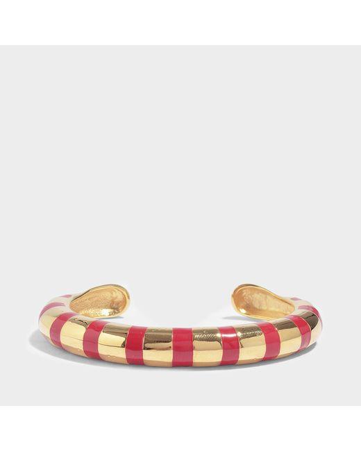 Aurelie Bidermann - Maria Bracelet With Red Enamel In Red Enamel And 18k Gold-plated Brass - Lyst