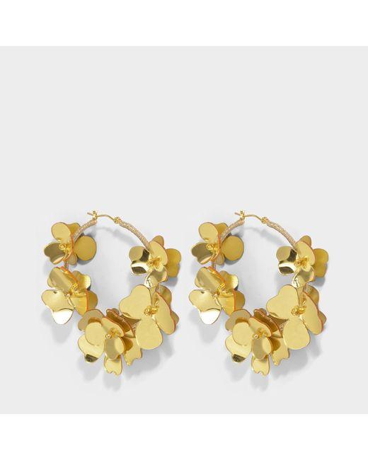 Oscar de la Renta - Metallic Flower Garden Hoop Earrings In Gold Synthetic - Lyst