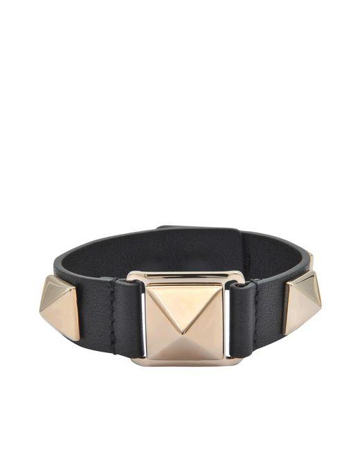Valentino - Black Stud Bracelet - Lyst