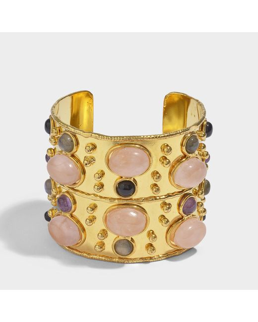 Sylvia Toledano - Multicolor Byzance Cuff Bracelet In Gold-plated Brass With Pink Quartz - Lyst