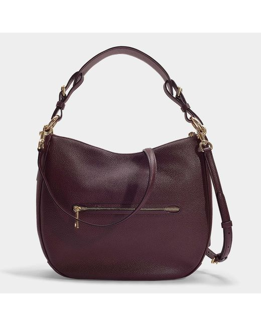 922c27a097a6 ... COACH - Red Polished Pebble Leather Sutton Hobo Bag In Burgundy  Calfskin - Lyst ...