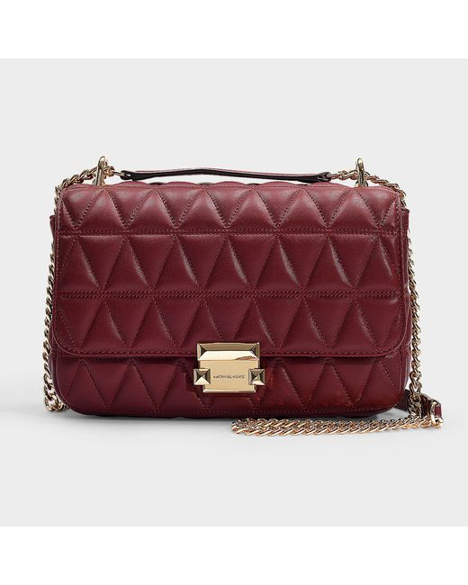e0cdc7b3073 MICHAEL Michael Kors - Multicolor Sloan Large Chain Shoulder Bag In  Burgundy Quilted Lambskin - Lyst ...