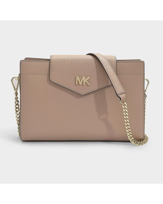 7975890e322 MICHAEL Michael Kors - Natural Crossbodies Large Convertible Crossbody  Clutch Bag In Truffle Grained Calfskin ...