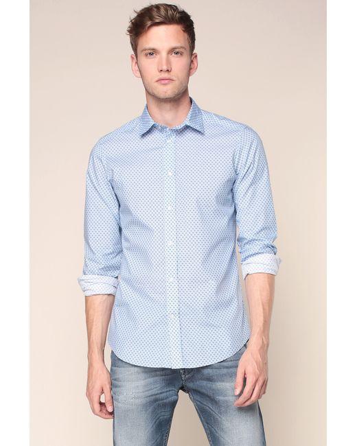 DIESEL | Blue Dot Print Cottonpoplin Shirt for Men | Lyst