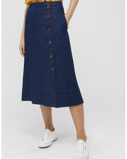 45d547423c ... Monsoon - Blue Maya Midi Denim Skirt - Lyst ...