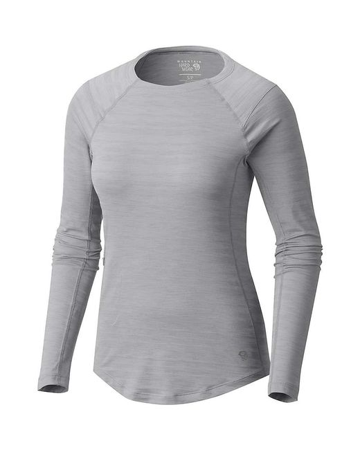 Mountain Hardwear - Gray Mighty Stripe Ls T - Lyst