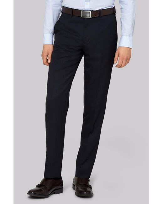 Moss London - Blue Skinny Fit Navy Trousers for Men - Lyst