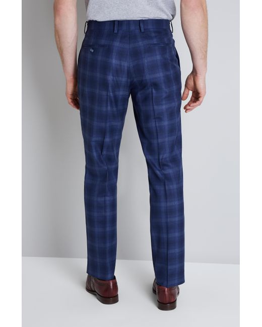cea004a87cd67b Ted Baker Tailored Fit Blue Bold Check Trousers in Blue for Men - Lyst