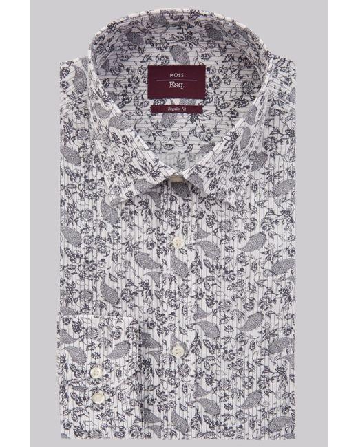 Moss Esq. - Blue Regular Fit Navy Single Cuff Paisley Stripe Shirt for Men - Lyst
