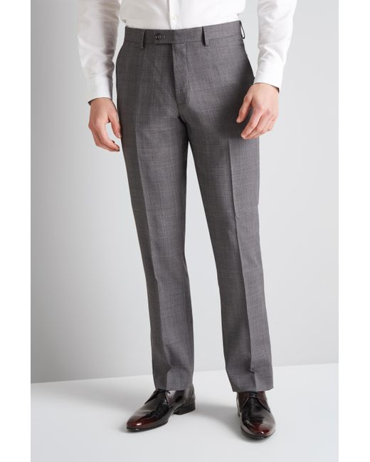 2516aa4986f7 Ted Baker - Gray Tailored Fit Grey With Lilac Check Trousers for Men - Lyst  ...