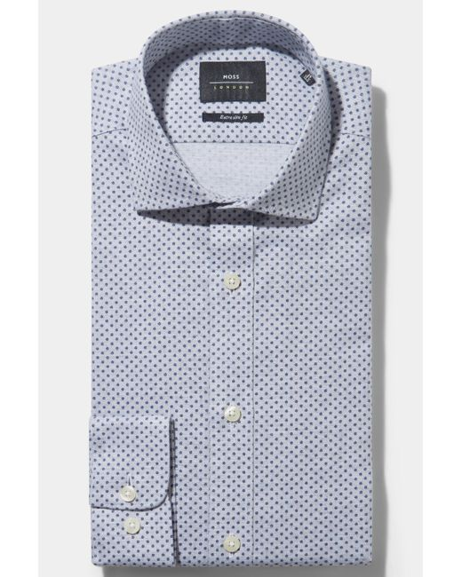 Moss Bros - Extra Slim Fit Single Cuff Blue Brushed Melange Spot Shirt In Italian Fabric for Men - Lyst