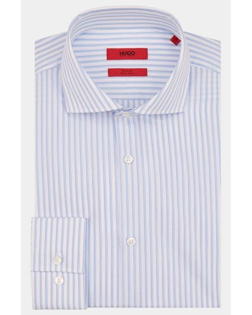 HUGO - Single Cuff Hairline Stripe Blue Shirt for Men - Lyst