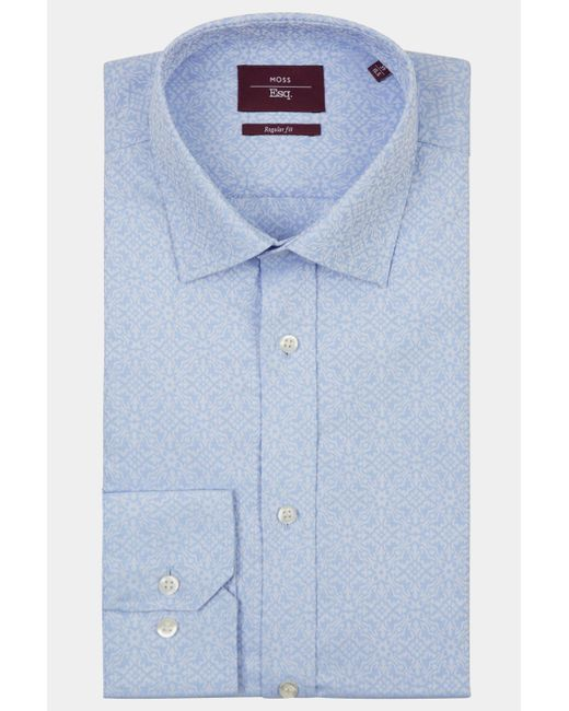 Moss Esq. - Regular Fit Blue Single Cuff Jacquard Shirt for Men - Lyst