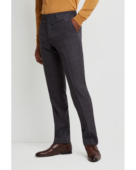 e9a51f7be48b Ted Baker - Gray Performance Tailored Fit Grey Check Trousers for Men - Lyst  ...