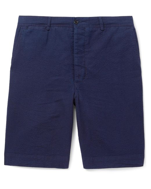 Officine Generale - Blue Slim-fit Cotton-seersucker Shorts for Men - Lyst