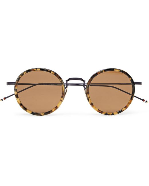 Thom Browne - Brown Round-frame Tortoiseshell Acetate And Metal Sunglasses for Men - Lyst