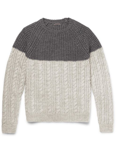 Barena - Gray Two-tone Waffle And Cable-knit Wool-blend Sweater for Men - Lyst