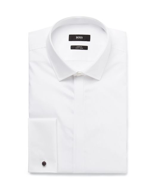 BOSS - White Jilias Slim-fit Double-cuff Cotton Oxford Shirt for Men - Lyst